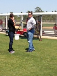 Ben Cherington (left) and Red Sox Manager John Farrell took in today's minor league games.
