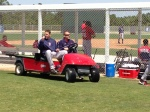 John Lackey gets a ride back to the clubhouse.