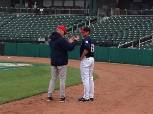 Former Sea Dog Tommy Hottovy (pictured right) talking with Sea Dogs' Pitching Coach Bob Kipper.