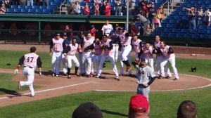 Matt Spring clubs a walk-off grand slam on Saturday.