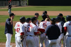 The Sea Dogs celebrate a walk-off win for a second straight way.