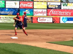 Garin Cecchini starts at third base tonight...Michael Almanzar is the DH.