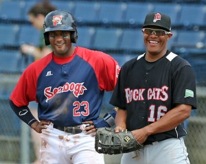 Tony Thomas (pictured left) had the last laugh in game one of Portland's 5-4 win in the opener of a twinbill on Monday night.