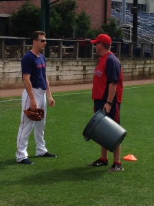 SS Stephen Drew chatting with Portland Manager Kevin Boles before tonight's game.
