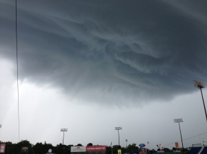 Looked like a sci-fi movie earlier today at Hadlock Field.