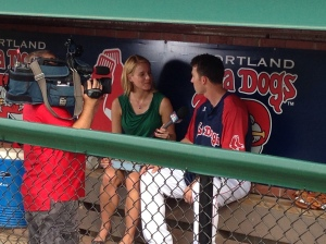 Jessica Moran of CSNNE visiting Hadlock Field.