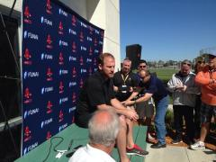 Dempster announcing his decision for 2014 (photo courtesy of Jason Mastrodonato)