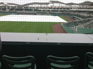 A protective netting covers the monster seats.