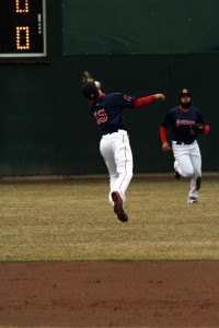 Derrik Gibson made a highlight reel catch at SS during the recent homestand.
