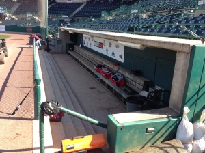 View of the Sea Dogs dugout.