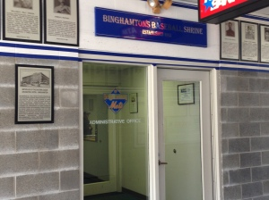 The doorway to the B-Mets front office.