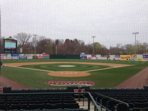 View of New Britain Stadium from behind the plate.