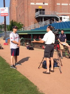 WGME-TV 13 David Eid talking with Ryan Lavarnway.