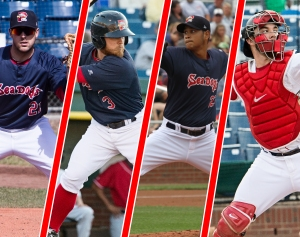 From left to right: Travis Shaw, Sean Coyle, Eduardo Rodriguez and Blake Swihart are now members of Boston's 40-man roster.
