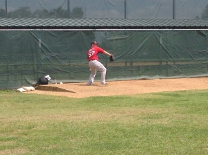 Former Sea Dogs Robby Scott getting ready to pitch for Pawtucket.