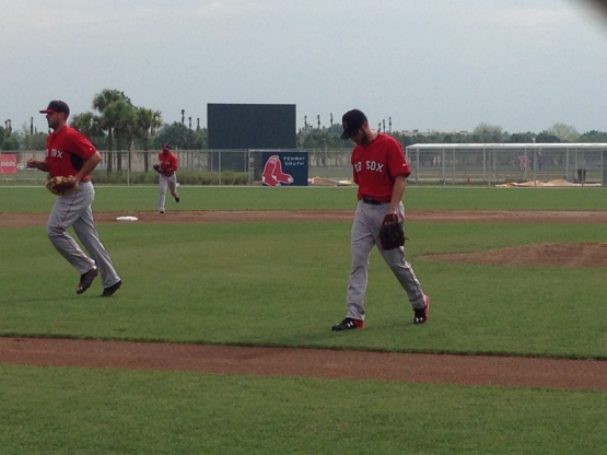 Joe Kelly walking off the mound after working this morning's intrasquad game.