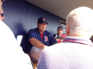 John Farrell talking to the media before Saturday's game.