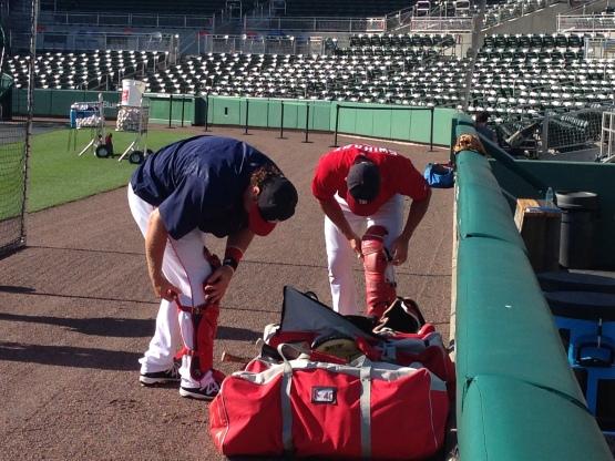 Matt Spring and Blake Swihart get ready for Pre-Game.