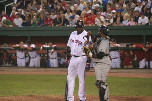 Back in 2008, David Oritz rehabbed at Hadlock Field. Pablo Sandoval was the catcher.